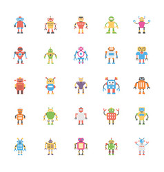Robotic flat icons pack vector