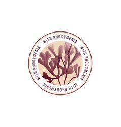 round emblem with hand drawn rhodymenia palmata vector image