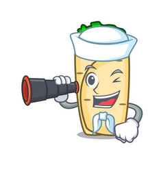 Sailor with binocular burrito mascot cartoon style vector