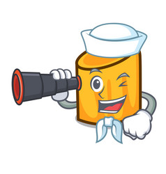 sailor with binocular rigatoni mascot cartoon vector image