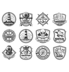 Sea anchor sailing ship and helm nautical badges vector