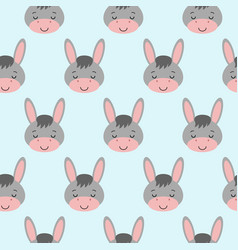 seamless background design with gray cute donkeys vector image
