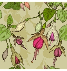 Seamless Floral Pattern with Fuschia Flowers vector image