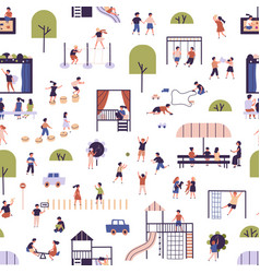 seamless pattern with kids at modern kindergarten vector image