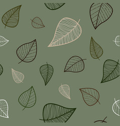 seamless pattern with silhouettes of autumn leaves vector image