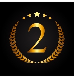 Second place gold laurel design label vector