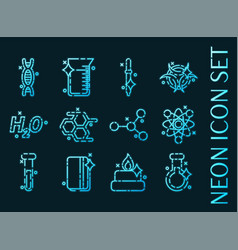 set chemical industry glowing neon icons vector image