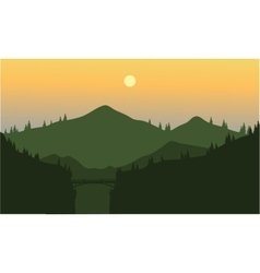 Silhouette of mountain and cliff vector