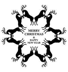 snowflakes deers vector image