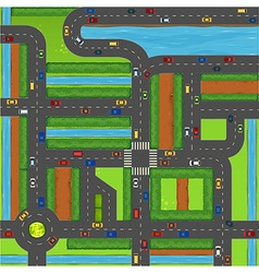 Top view of cars on street vector