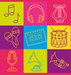 Tropical instruments set icons vector