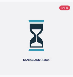 Two color sandglass clock icon from time and date vector