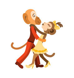 Two funny monkeys dancing salsa vector