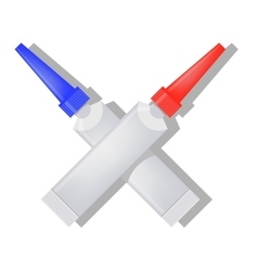 Two Metalic Tubes of Glue vector