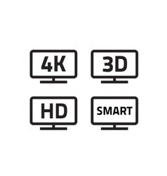 Ultra hd 4k smart tv format television icons 3d vector