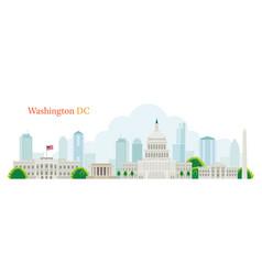 Washington dc landmarks skyline and skyscraper vector