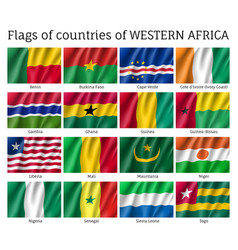 Western africa flag set vector