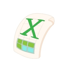 XLS icon in cartoon style vector image