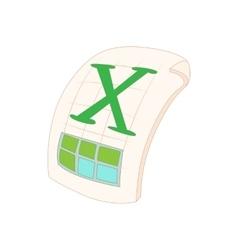 XLS icon in cartoon style vector