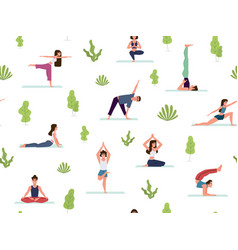 yoga seamless pattern people demonstrating vector image