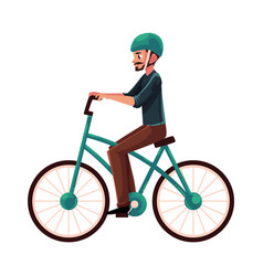 young man guy riding urban bicycle cycling in vector image