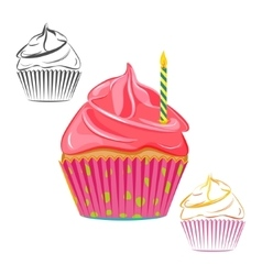 Birthday candle cupcake set vector image