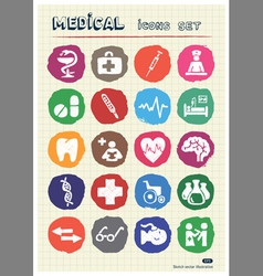 Medical web icons set drawn by chalk vector image vector image