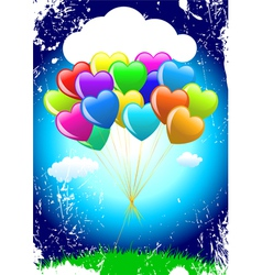 cartoon heart balloons vector image vector image