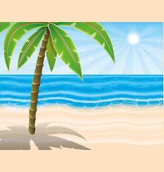 Palm tree on the beach vector