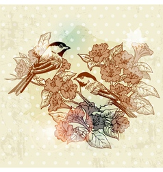 Vintage Spring Card with Bird and Flowers vector image vector image