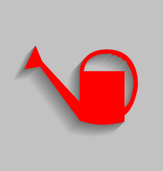 watering sign red icon with soft shadow vector image