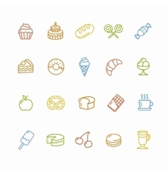 Bakery and Pastry Colorful Icons Set vector image vector image