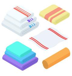 cartoon isometric towels set cloth folded vector image vector image