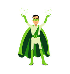 ecological green superhero man standing with his vector image vector image