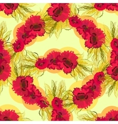 Seamless pattern of poppies and wheat vector image