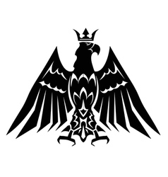 Black heraldic eagle crown vector image