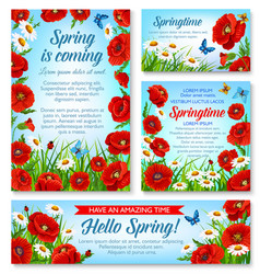hello spring and springtime holidays floral banner vector image vector image