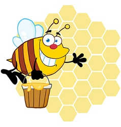 Smiling Bee Flying With A Honey Bucket vector image vector image