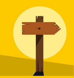 wood sign in yellow background vector image vector image