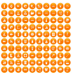 100 water icons set orange vector