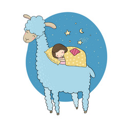 A sleeping girl and a cartoon lama vector