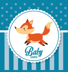 baby shower card invitation cute fox decoration vector image