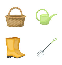 Basket wicker watering can for irrigation rubber vector