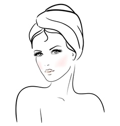 Beautiful young woman with towel vector image vector image