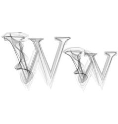 Black Smoke font Letter W vector
