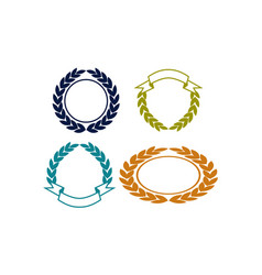 blank shield ribbon template set vector image