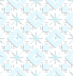 Blue snowflakes on top perforated rectangles vector
