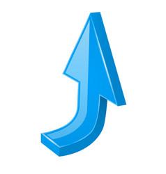 blue up arrow 3d web icon vector image