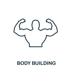 body building icon thin outline style design from vector image