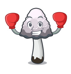 Boxing shaggy mane mushroom character cartoon vector